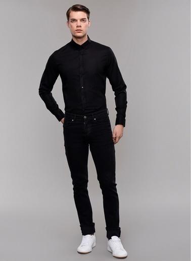 People By Fabrika Likralı & Düğmeli Yaka Gömlek Siyah